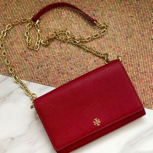 Authentic Tory Burch red crossbody clutch bag